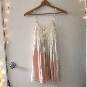 Pink and white crochet mini dress